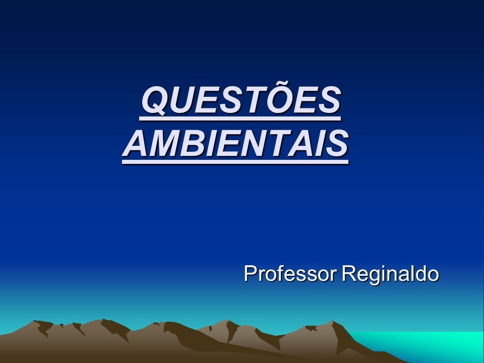 QUESTÕES AMBIENTAIS Professor Reginaldo
