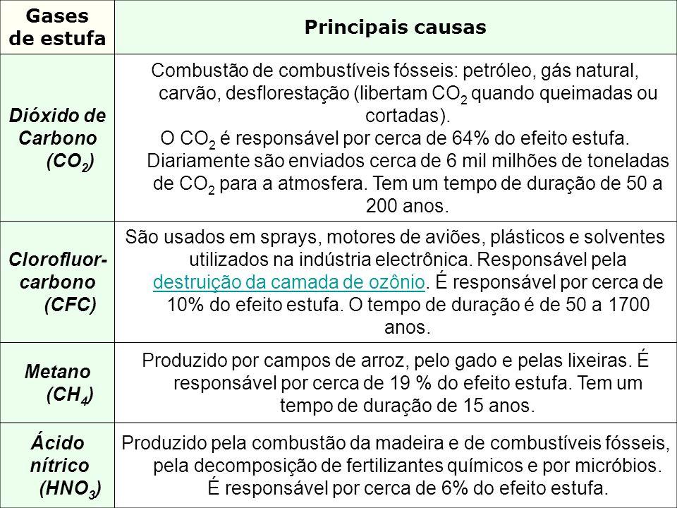 Gasesde estufa. Principais causas. Dióxido de. Carbono (CO2)