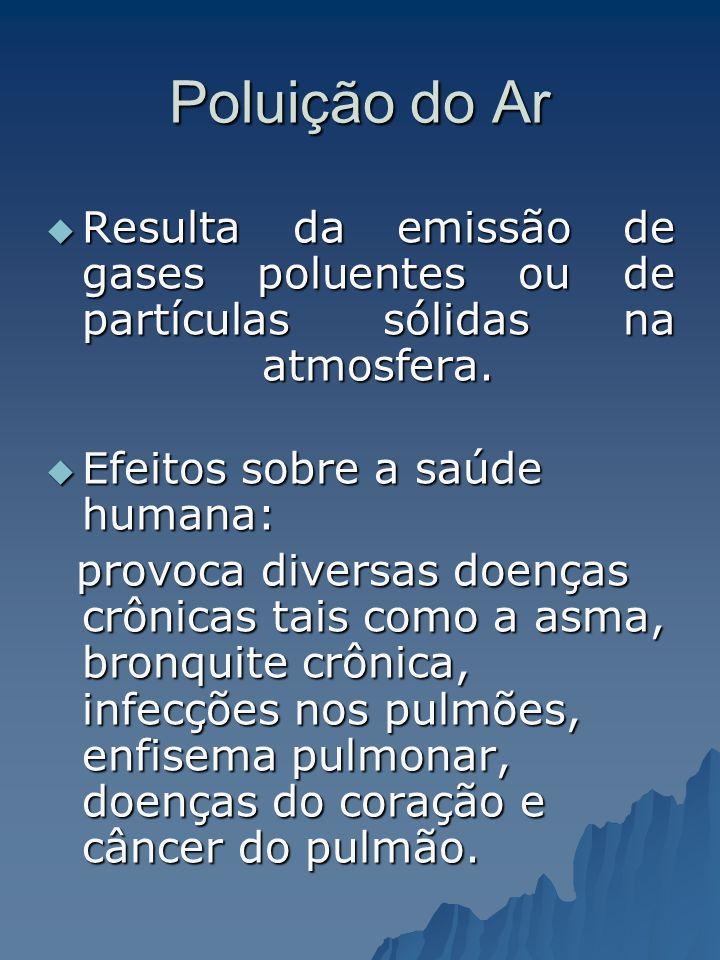 Poluição do Ar Resulta da emissão de gases poluentes ou de partículas sólidas na atmosfera. Efeitos sobre a saúde humana: