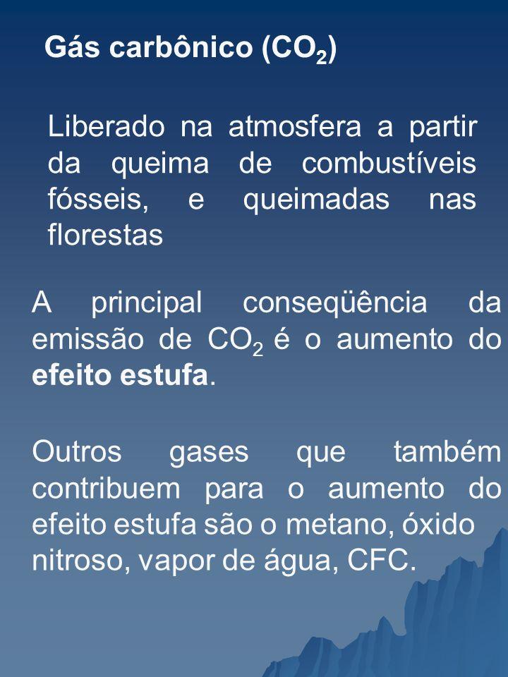 Gás carbônico (CO2) Liberado na atmosfera a partir da queima de combustíveis fósseis, e queimadas nas florestas.