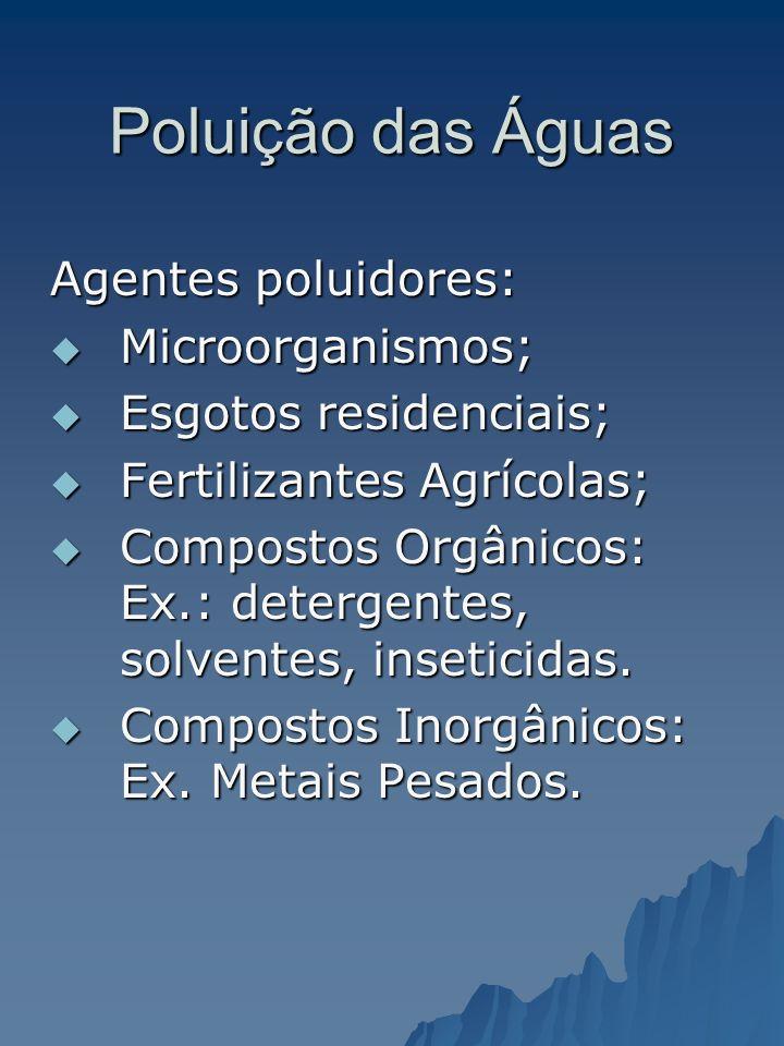Poluição das Águas Agentes poluidores: Microorganismos;