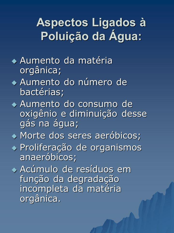 Aspectos Ligados à Poluição da Água: