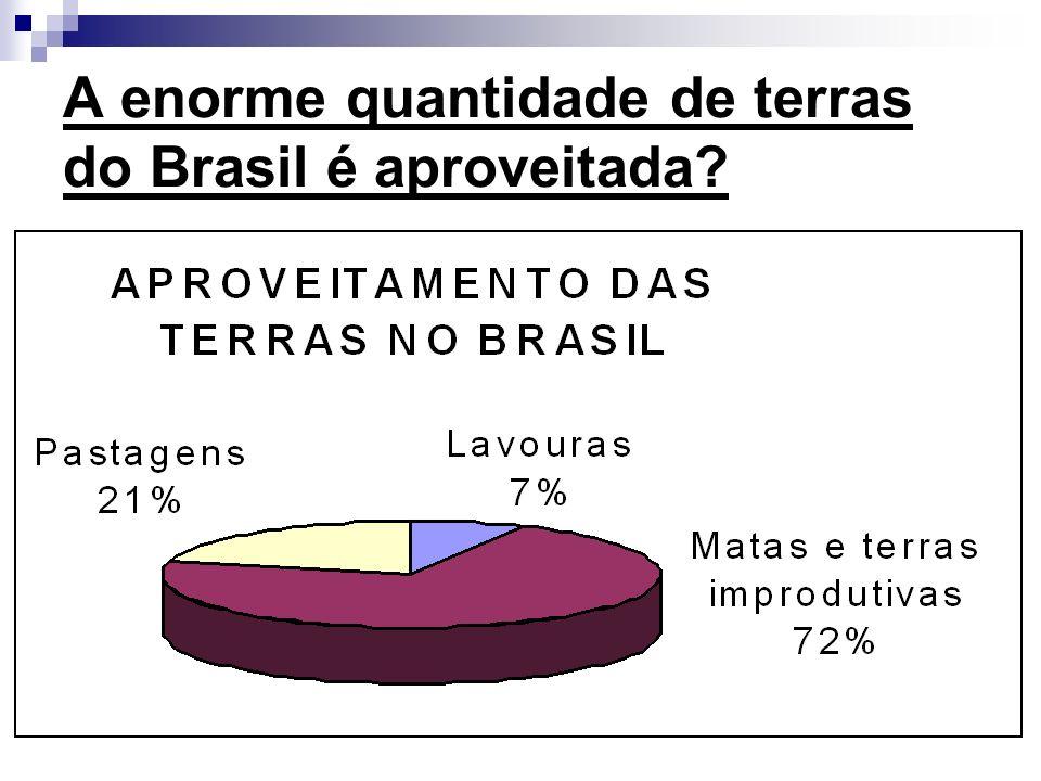 A enorme quantidade de terras do Brasil é aproveitada
