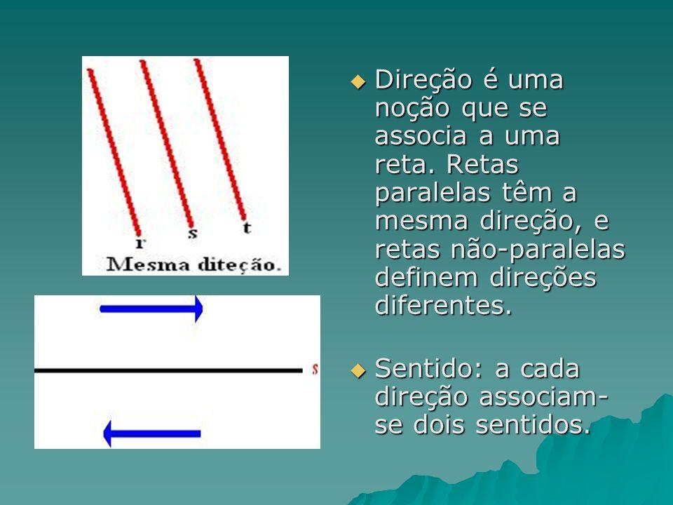 Direção é uma noção que se associa a uma reta