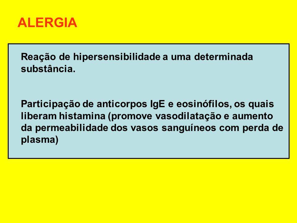 ALERGIA Reação de hipersensibilidade a uma determinada substância.