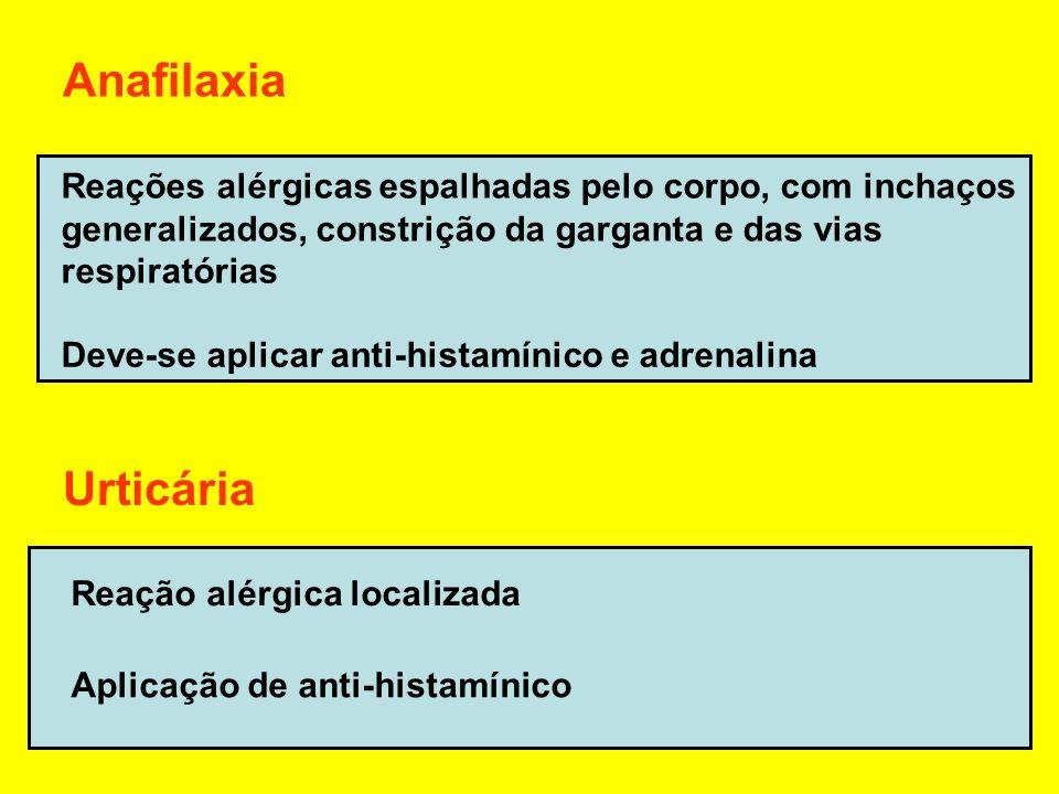 Anafilaxia Reações alérgicas espalhadas pelo corpo, com inchaços. generalizados, constrição da garganta e das vias.