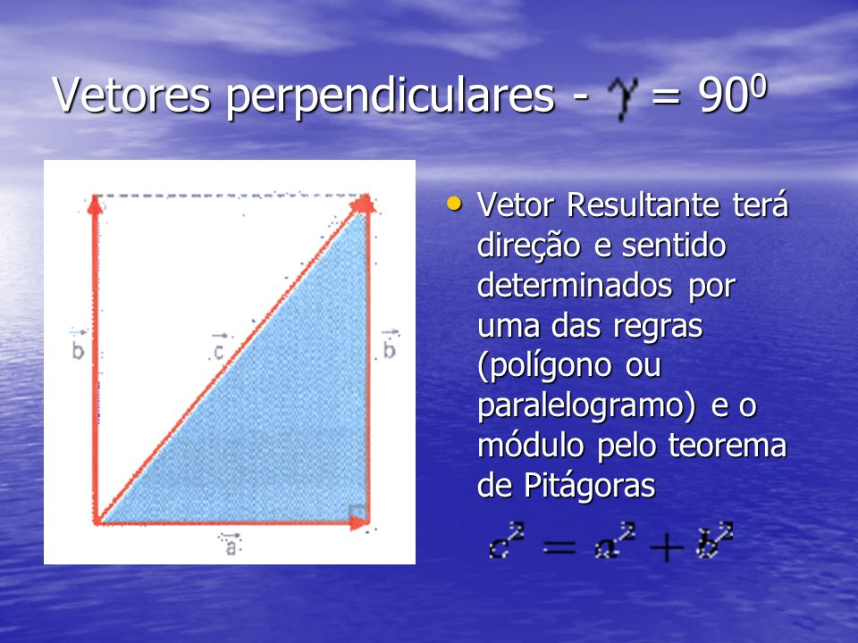 Vetores perpendiculares - = 900