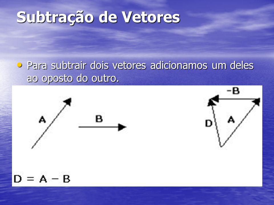 Subtração de Vetores Para subtrair dois vetores adicionamos um deles ao oposto do outro.