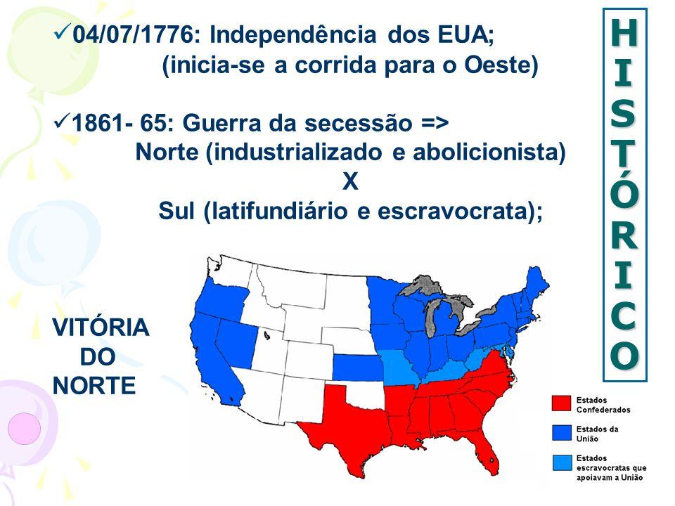 HISTÓRICO 04/07/1776: Independência dos EUA;