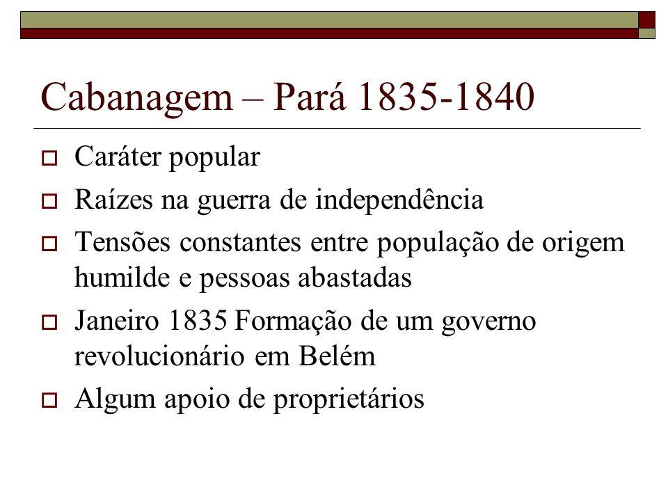 Cabanagem – Pará 1835-1840 Caráter popular