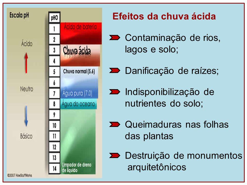 Efeitos da chuva ácida Contaminação de rios, lagos e solo; Danificação de raízes; Indisponibilização de.