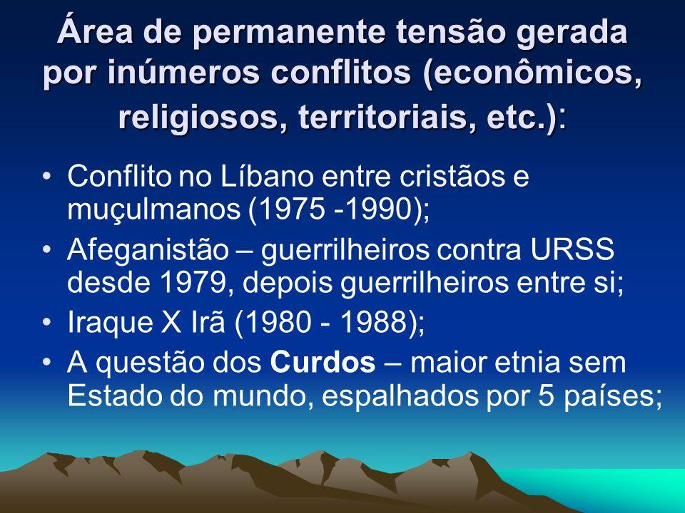 Área de permanente tensão gerada por inúmeros conflitos (econômicos, religiosos, territoriais, etc.):