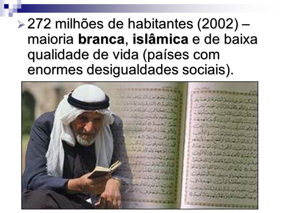 272 milhões de habitantes (2002) – maioria branca, islâmica e de baixa qualidade de vida (países com enormes desigualdades sociais).
