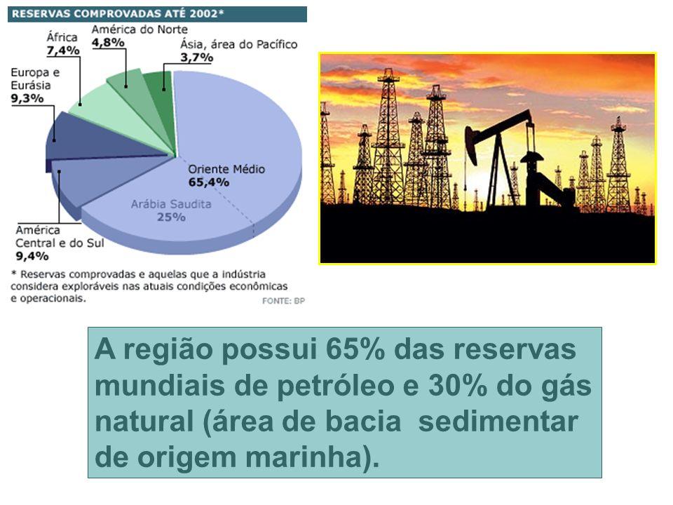 A região possui 65% das reservas mundiais de petróleo e 30% do gás natural (área de bacia sedimentar de origem marinha).
