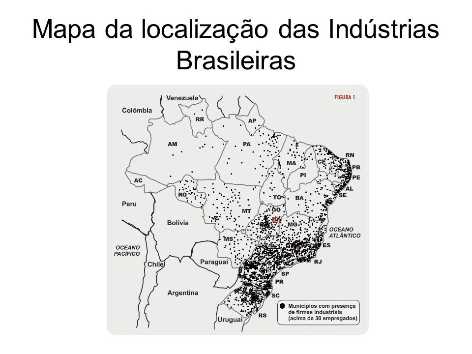 Mapa da localização das Indústrias Brasileiras
