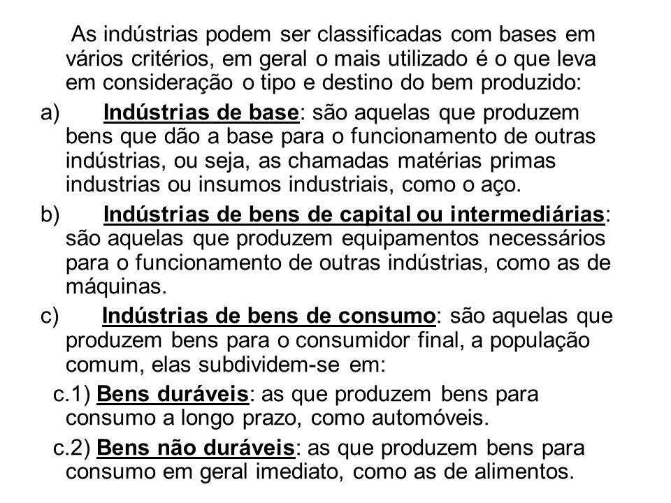 As indústrias podem ser classificadas com bases em vários critérios, em geral o mais utilizado é o que leva em consideração o tipo e destino do bem produzido: