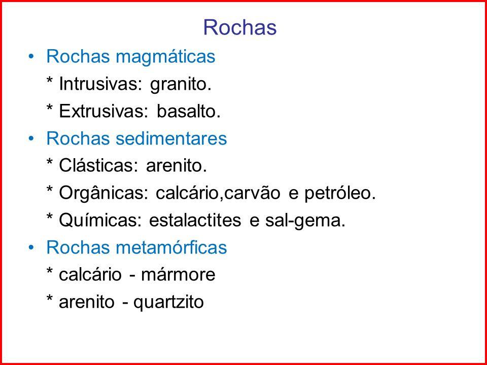 Rochas Rochas magmáticas * Intrusivas: granito. * Extrusivas: basalto.