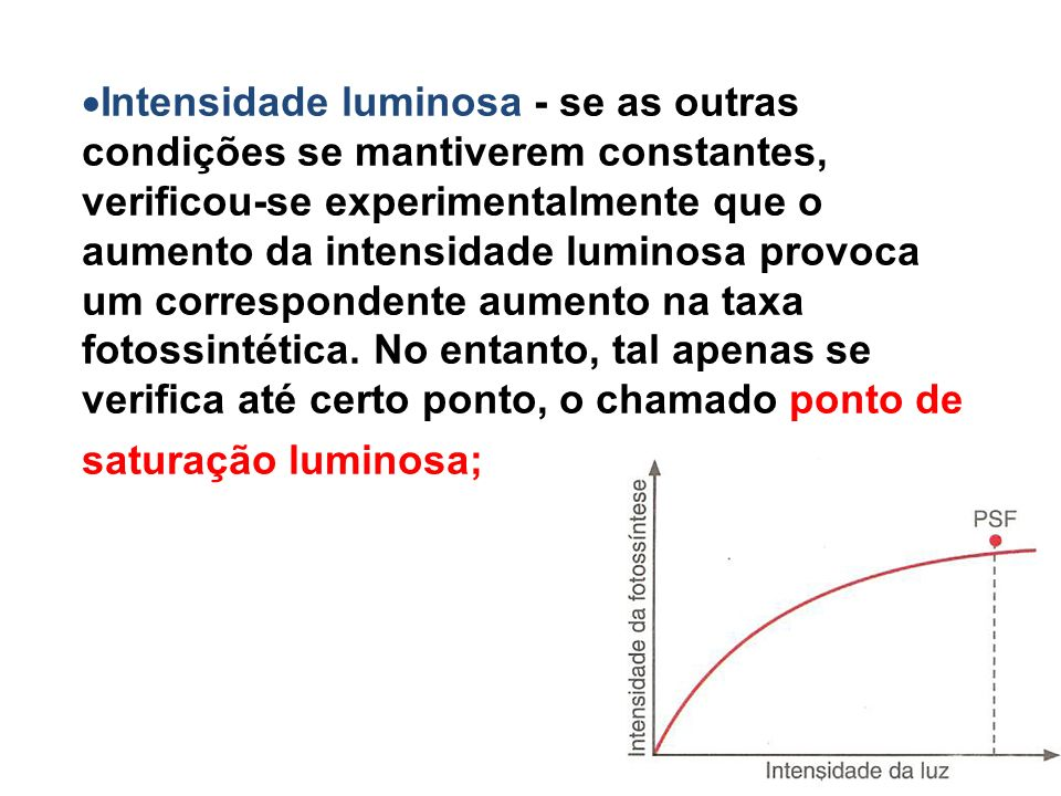 Intensidade luminosa - se as outras condições se mantiverem constantes, verificou-se experimentalmente que o aumento da intensidade luminosa provoca um correspondente aumento na taxa fotossintética.