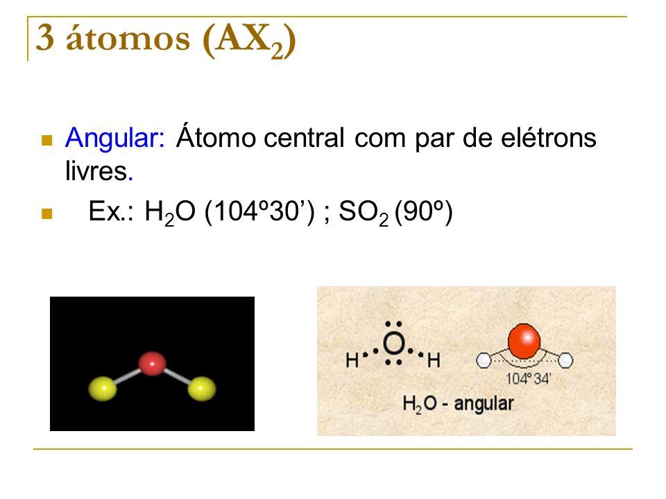 3 átomos (AX2) Angular: Átomo central com par de elétrons livres.