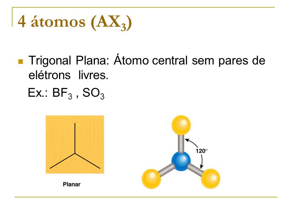 4 átomos (AX3) Trigonal Plana: Átomo central sem pares de elétrons livres. Ex.: BF3 , SO3