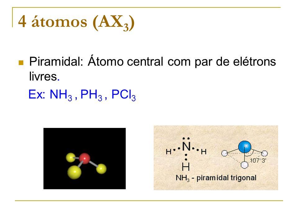 4 átomos (AX3) Piramidal: Átomo central com par de elétrons livres.