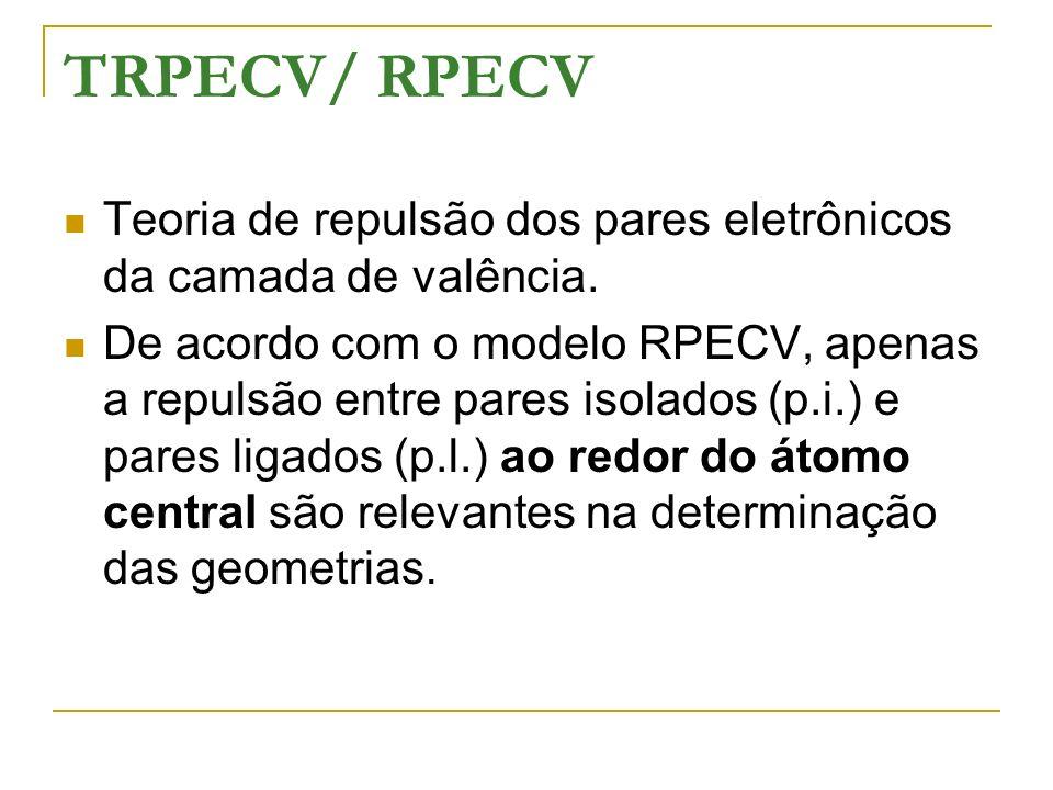 TRPECV/ RPECV Teoria de repulsão dos pares eletrônicos da camada de valência.
