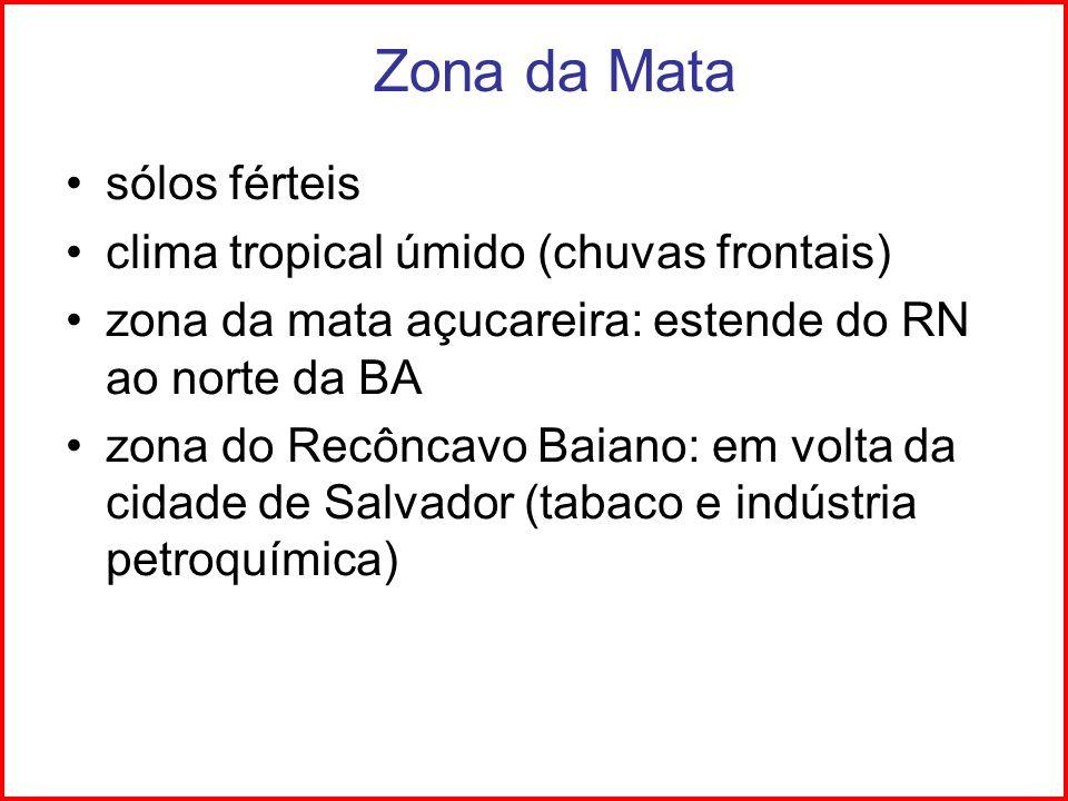 Zona da Mata sólos férteis clima tropical úmido (chuvas frontais)