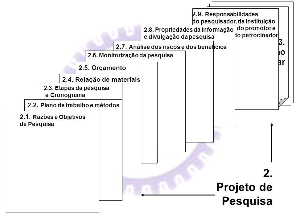 2. Projeto de Pesquisa 3. Documentação Complementar