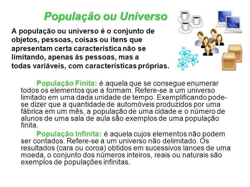 População ou Universo A população ou universo é o conjunto de