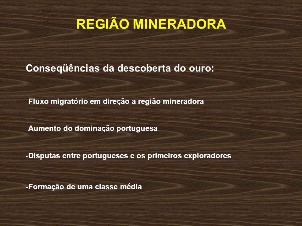 REGIÃO MINERADORA Conseqüências da descoberta do ouro: