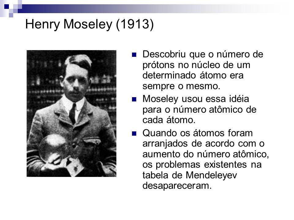 Henry Moseley (1913) Descobriu que o número de prótons no núcleo de um determinado átomo era sempre o mesmo.