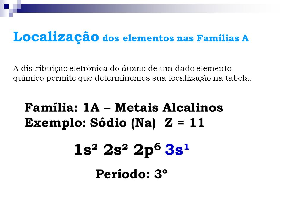 1s² 2s² 2p6 3s¹ Localização dos elementos nas Famílias A