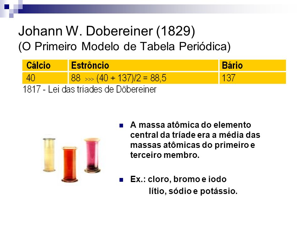 Johann W. Dobereiner (1829) (O Primeiro Modelo de Tabela Periódica)