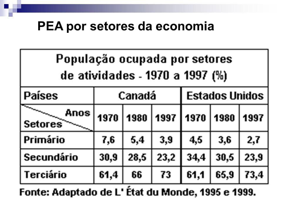 PEA por setores da economia