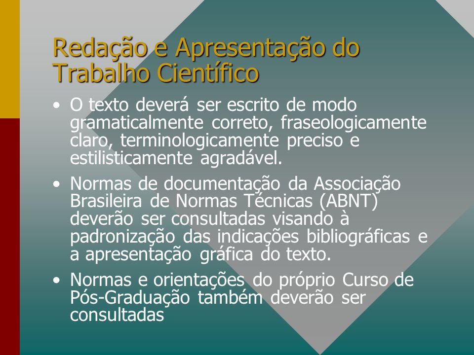 Redação e Apresentação do Trabalho Científico