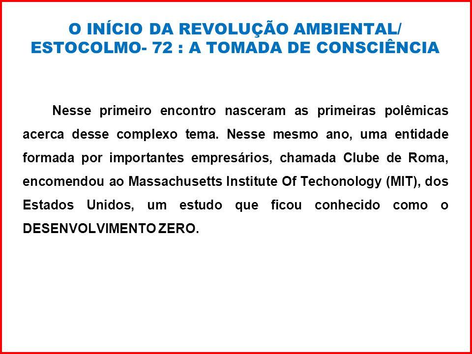 O INÍCIO DA REVOLUÇÃO AMBIENTAL/ ESTOCOLMO- 72 : A TOMADA DE CONSCIÊNCIA