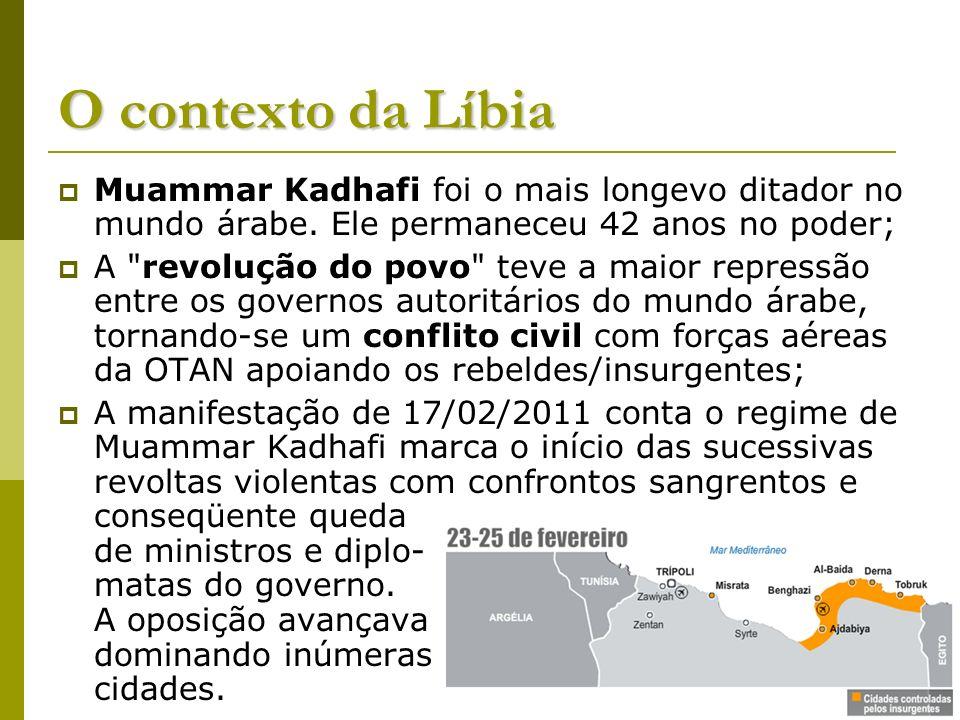 O contexto da LíbiaMuammar Kadhafi foi o mais longevo ditador no mundo árabe. Ele permaneceu 42 anos no poder;
