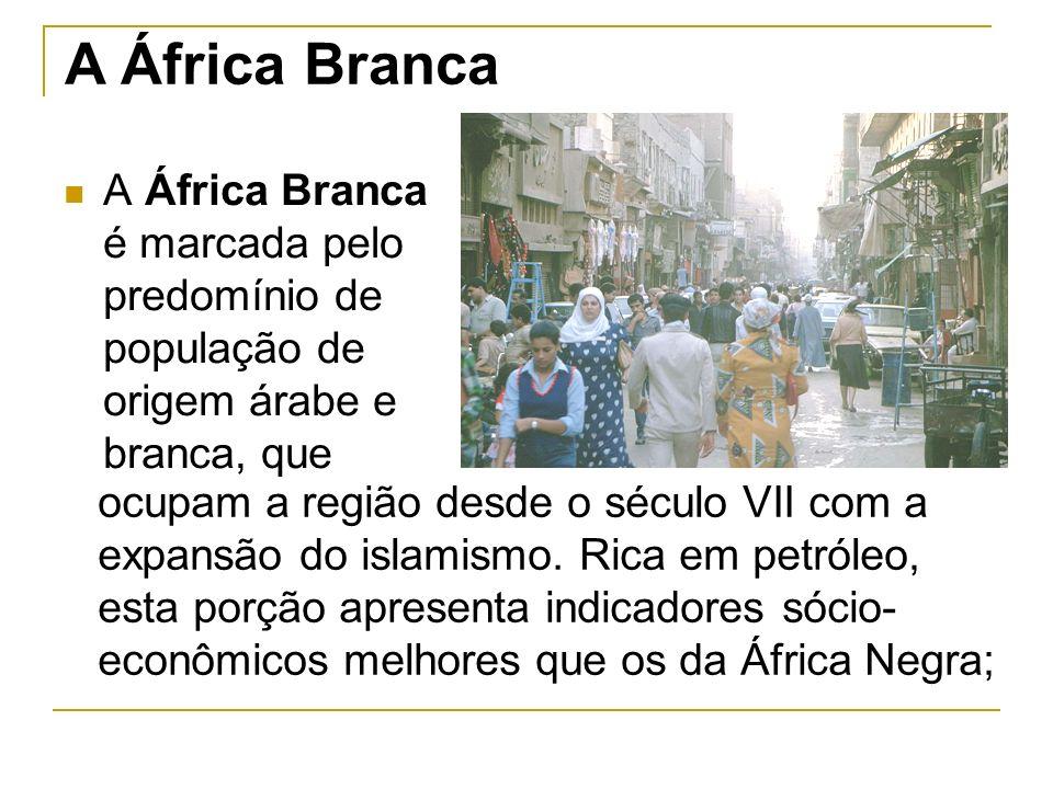 A África Branca A África Branca é marcada pelo predomínio de população de origem árabe e branca, que.