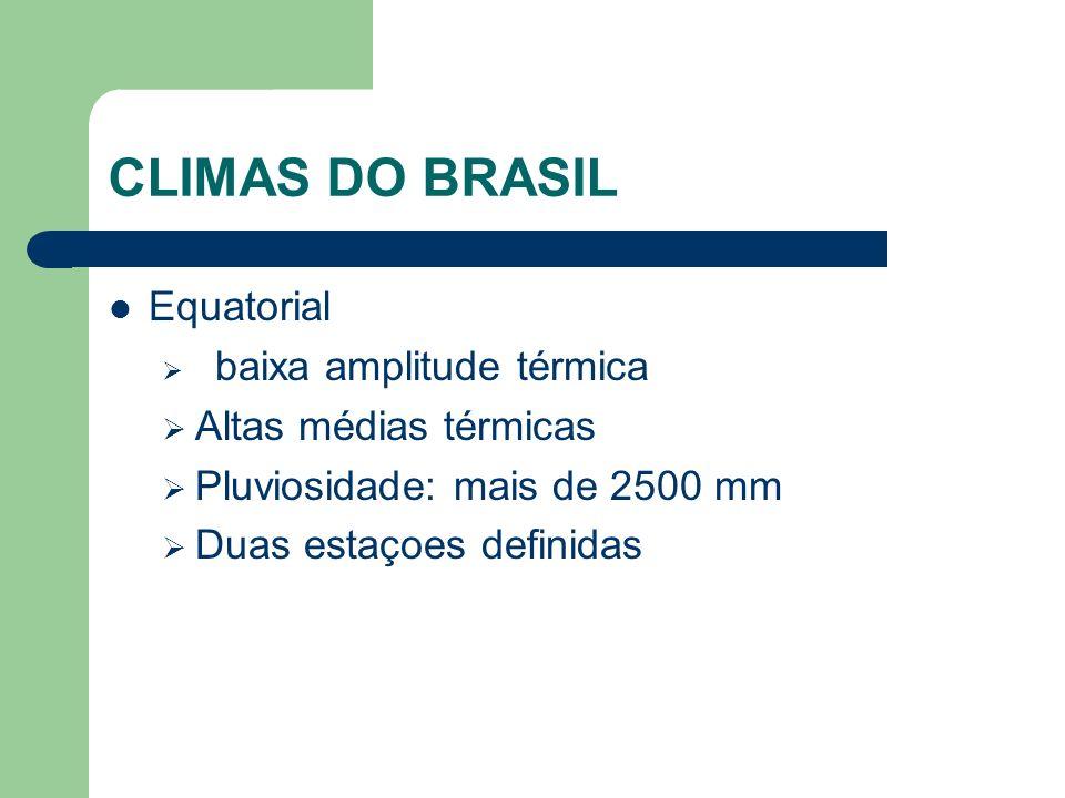 CLIMAS DO BRASIL Equatorial Altas médias térmicas
