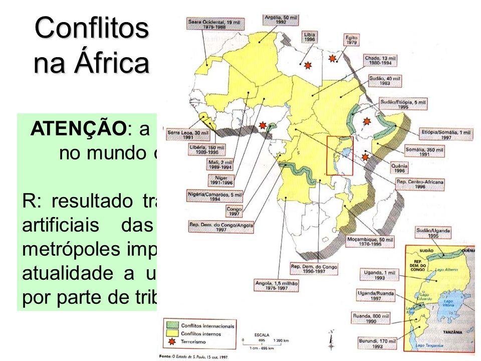 Conflitos na África ATENÇÃO: a maior parte dos recentes conflitos no mundo ocorreram na região. Por quê