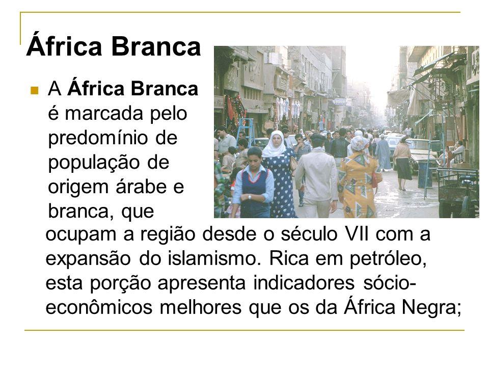 África Branca A África Branca é marcada pelo predomínio de população de origem árabe e branca, que.
