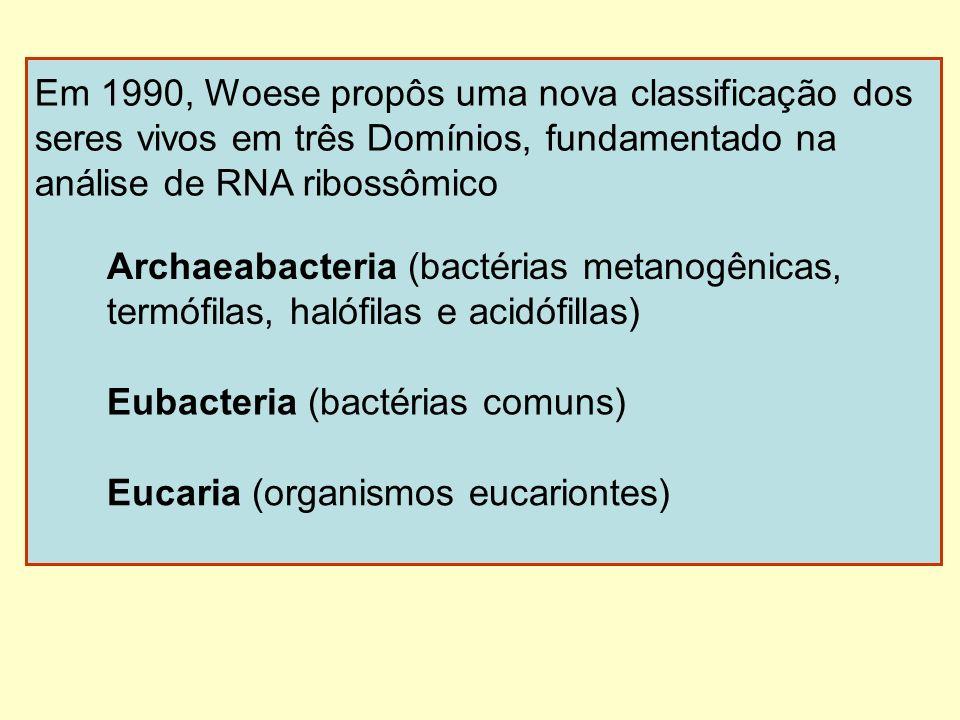 Em 1990, Woese propôs uma nova classificação dos