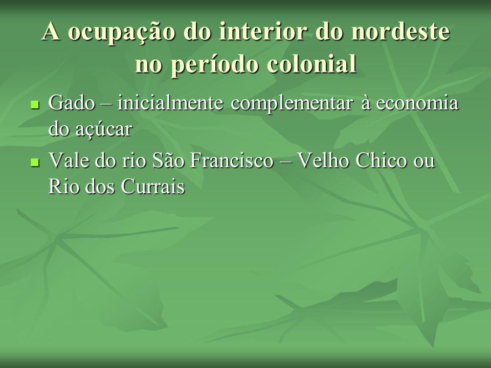 A ocupação do interior do nordeste no período colonial