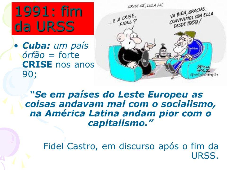 1991: fim da URSS Cuba: um país órfão = forte CRISE nos anos 90;