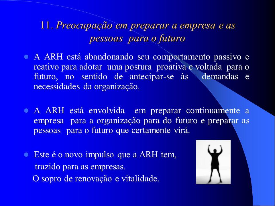 11. Preocupação em preparar a empresa e as pessoas para o futuro