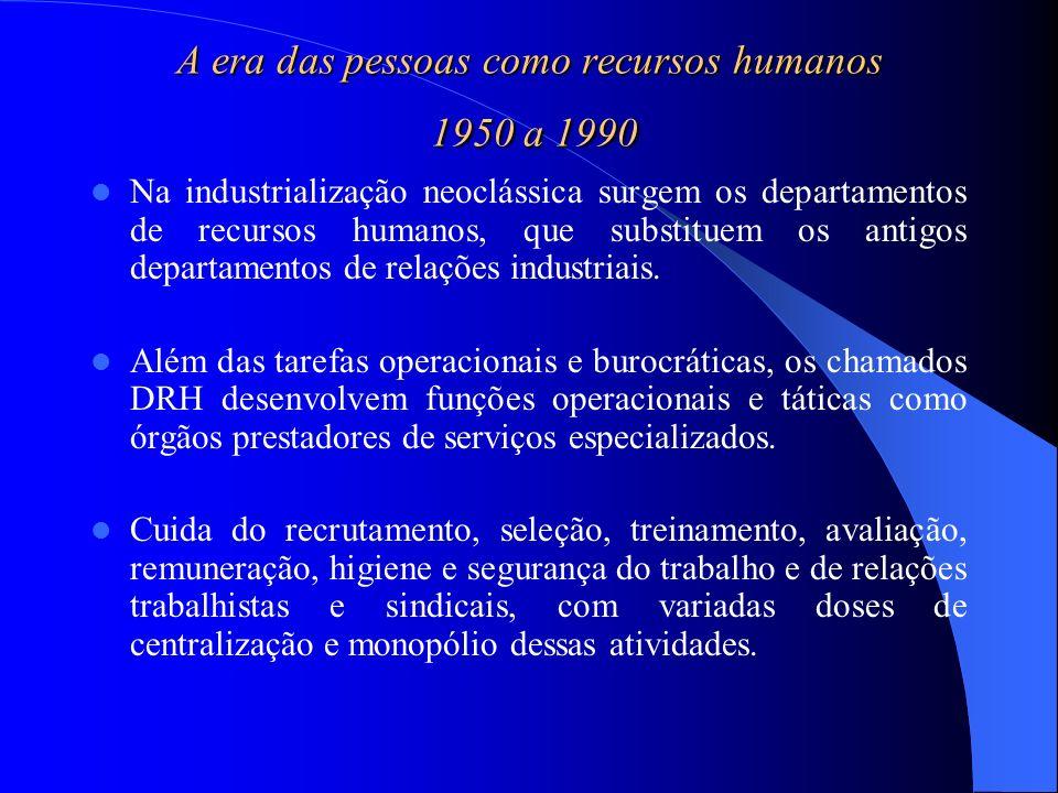 A era das pessoas como recursos humanos 1950 a 1990