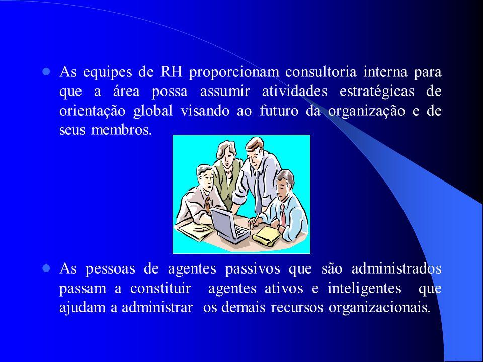 As equipes de RH proporcionam consultoria interna para que a área possa assumir atividades estratégicas de orientação global visando ao futuro da organização e de seus membros.