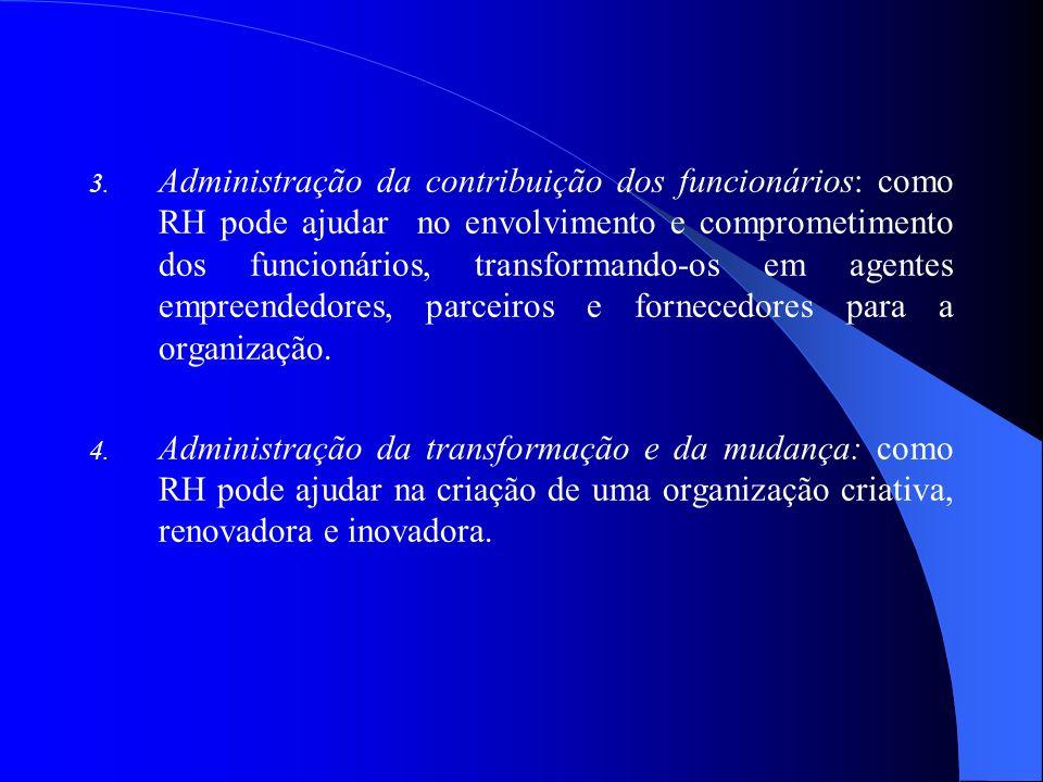 Administração da contribuição dos funcionários: como RH pode ajudar no envolvimento e comprometimento dos funcionários, transformando-os em agentes empreendedores, parceiros e fornecedores para a organização.