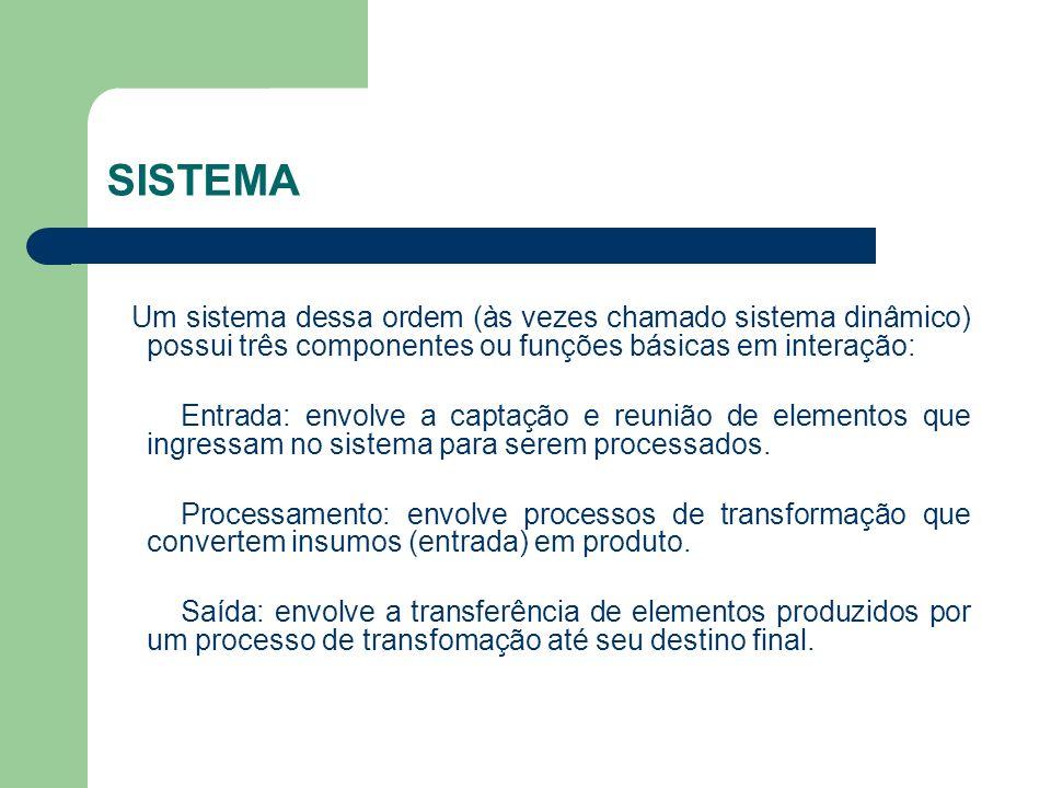 SISTEMA Um sistema dessa ordem (às vezes chamado sistema dinâmico) possui três componentes ou funções básicas em interação: