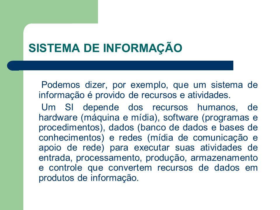 SISTEMA DE INFORMAÇÃOPodemos dizer, por exemplo, que um sistema de informação é provido de recursos e atividades.